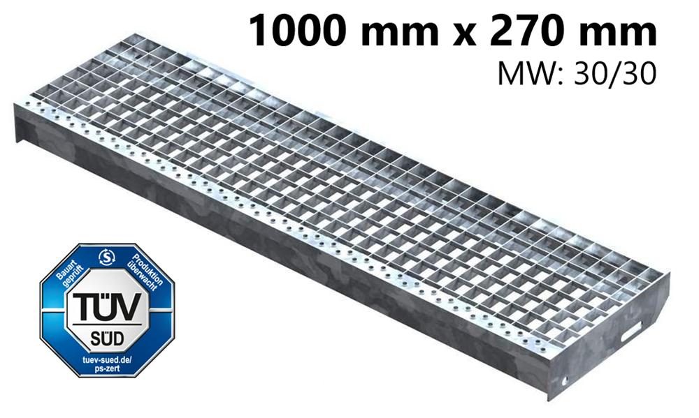 Gitterroststufe Treppenstufe   Maße: 1000x270 mm 30/30 mm   S235JR (St37-2), im Vollbad feuerverzinkt