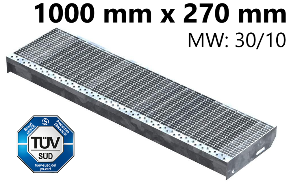 Gitterroststufe Treppenstufe   Maße: 1000x270 mm 30/10 mm   S235JR (St37-2), im Vollbad feuerverzinkt
