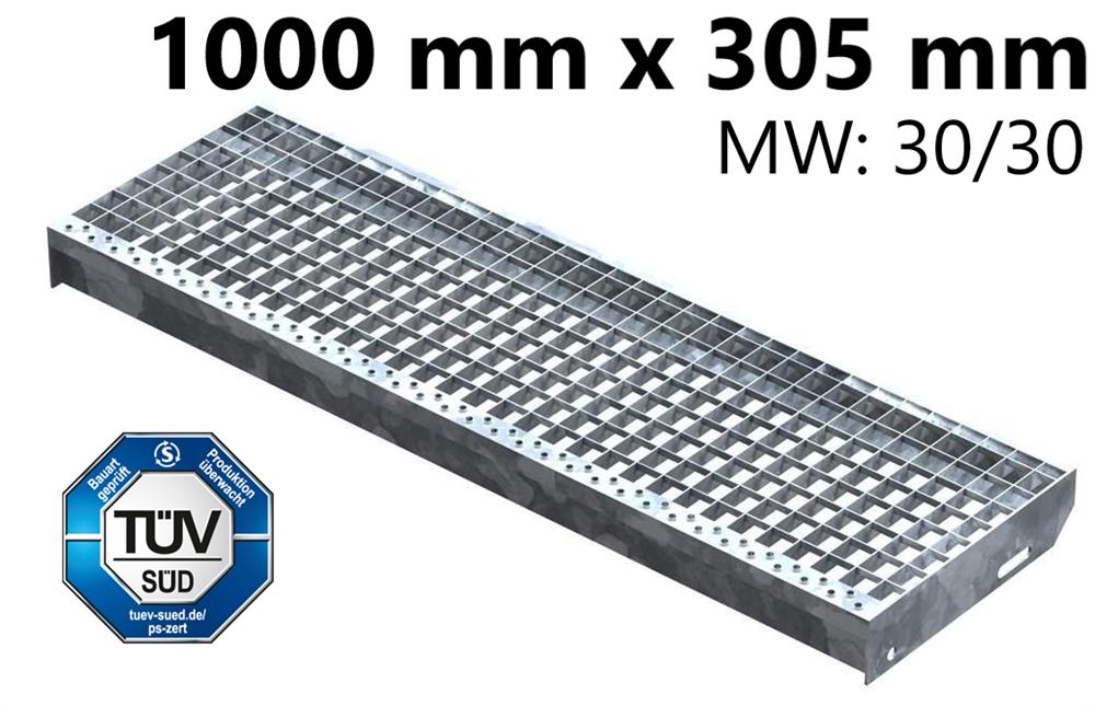 Gitterroststufe Treppenstufe   Maße: 1000x305 mm 30/30 mm   S235JR (St37-2), im Vollbad feuerverzinkt