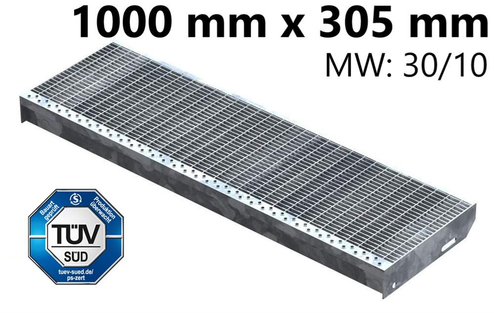 Gitterroststufe Treppenstufe   Maße: 1000x305 mm 30/10 mm   S235JR (St37-2), im Vollbad feuerverzinkt