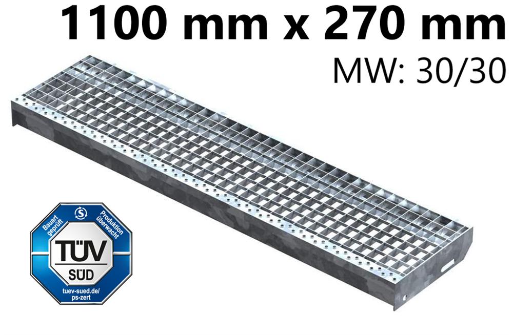 Gitterroststufe Treppenstufe   Maße: 1100x270 mm 30/30 mm   S235JR (St37-2), im Vollbad feuerverzinkt