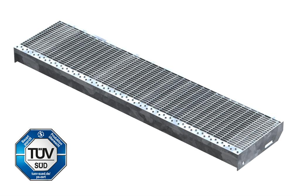 Gitterroststufe Treppenstufe   Maße: 1100x270 mm 30/10 mm   S235JR (St37-2), im Vollbad feuerverzinkt