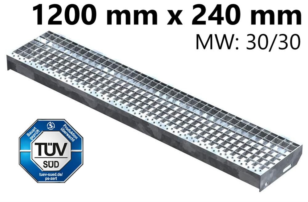 Gitterroststufe Treppenstufe   Maße: 1200x240 mm 30/30 mm   S235JR (St37-2), im Vollbad feuerverzinkt