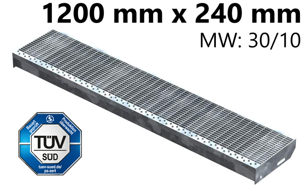 Gitterroststufe Treppenstufe   Maße: 1200x240 mm 30/10 mm   S235JR (St37-2), im Vollbad feuerverzinkt