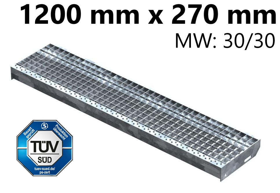 Gitterroststufe Treppenstufe   Maße: 1200x270 mm 30/30 mm R13   S235JR (St37-2), im Vollbad feuerverzinkt