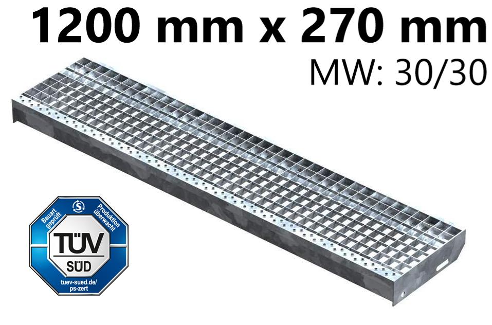 Gitterroststufe Treppenstufe   Maße: 1200x270 mm 30/30 mm   S235JR (St37-2), im Vollbad feuerverzinkt
