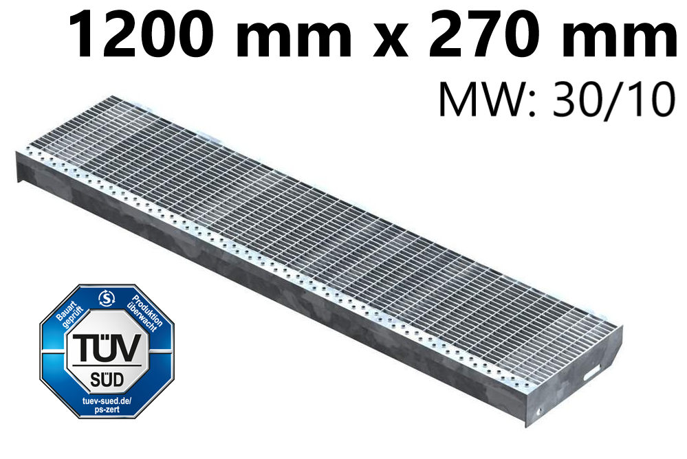 Gitterroststufe Treppenstufe   Maße: 1200x270 mm 30/10 mm   S235JR (St37-2), im Vollbad feuerverzinkt