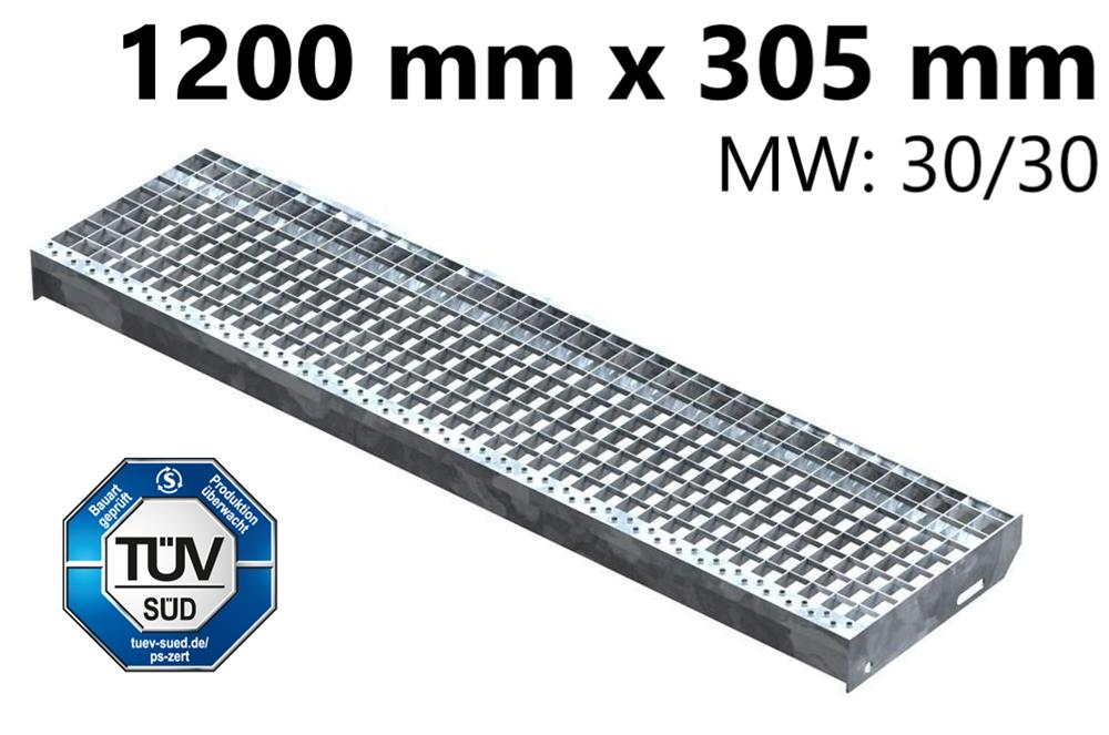 Gitterroststufe Treppenstufe   Maße: 1200x305 mm 30/30 mm   S235JR (St37-2), im Vollbad feuerverzinkt