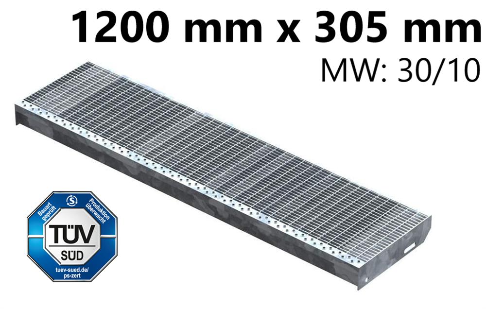 Gitterroststufe Treppenstufe   Maße: 1200x305 mm 30/10 mm   S235JR (St37-2), im Vollbad feuerverzinkt