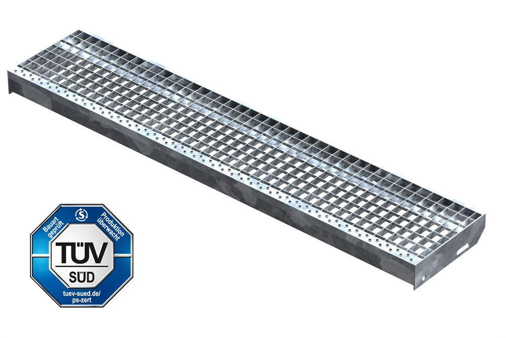 Gitterroststufe Treppenstufe   Maße: 1300x270 mm 30/30 mm   S235JR (St37-2), im Vollbad feuerverzinkt