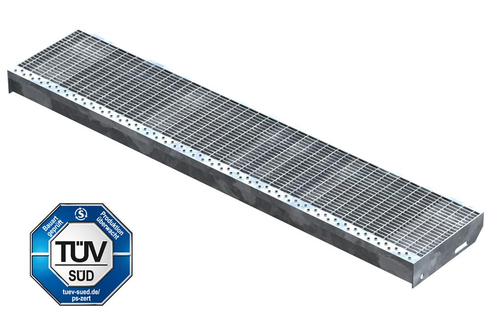 Gitterroststufe Treppenstufe   Maße: 1300x270 mm 30/10 mm   S235JR (St37-2), im Vollbad feuerverzinkt