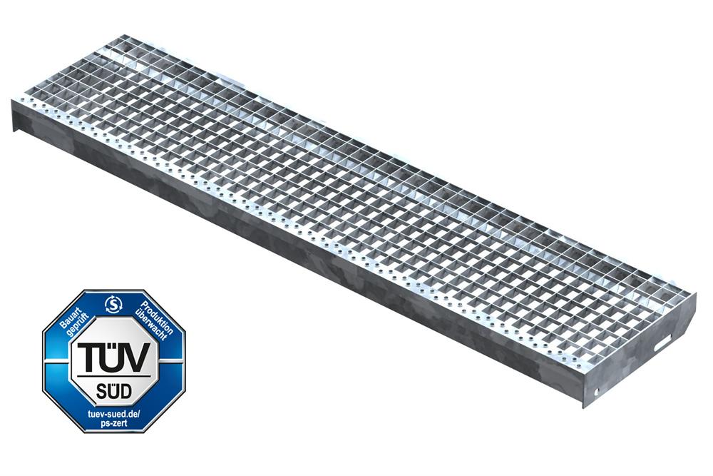 Gitterroststufe Treppenstufe   Maße: 1300x305 mm 30/30 mm   S235JR (St37-2), im Vollbad feuerverzinkt