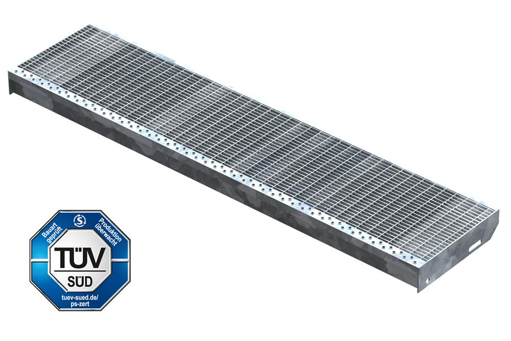 Gitterroststufe Treppenstufe   Maße: 1300x305 mm 30/10 mm   S235JR (St37-2), im Vollbad feuerverzinkt