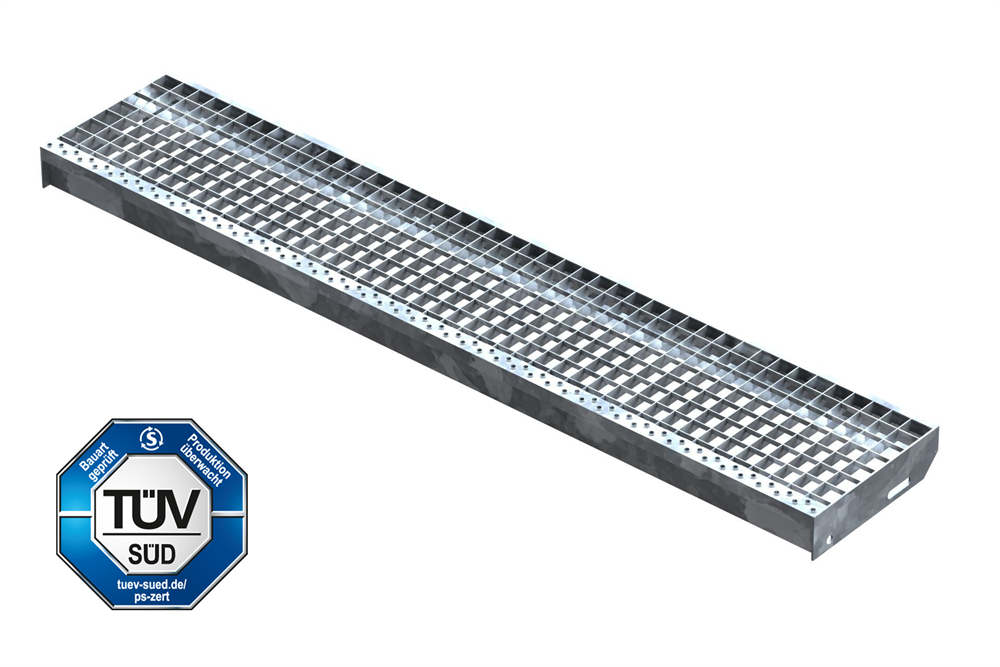 Gitterroststufe Treppenstufe   Maße: 1400x270 mm 30/30 mm   S235JR (St37-2), im Vollbad feuerverzinkt
