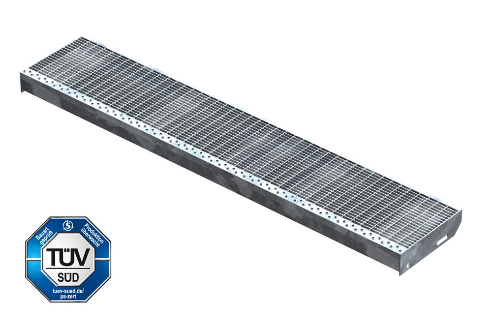 Gitterroststufe Treppenstufe   Maße: 1400x270 mm 30/10 mm   S235JR (St37-2), im Vollbad feuerverzinkt
