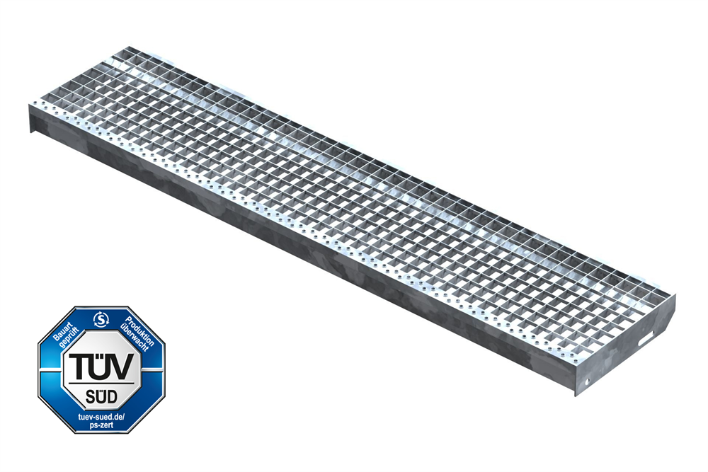 Gitterroststufe Treppenstufe   Maße: 1400x305 mm 30/30 mm   S235JR (St37-2), im Vollbad feuerverzinkt