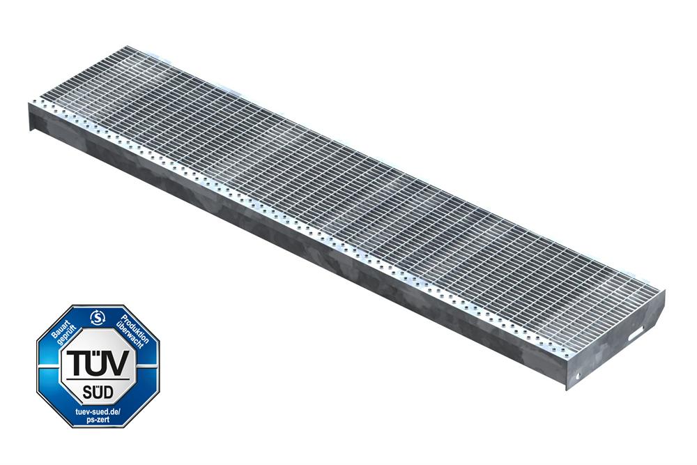 Gitterroststufe Treppenstufe   Maße: 1400x305 mm 30/10 mm   S235JR (St37-2), im Vollbad feuerverzinkt