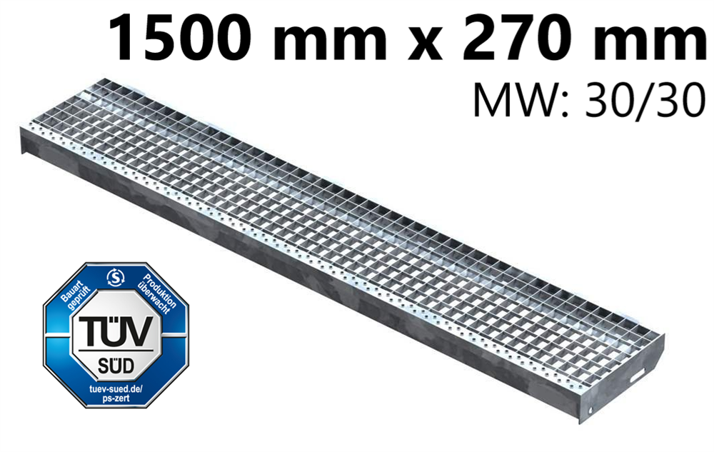 Gitterroststufe Treppenstufe   Maße: 1500x270 mm 30/30 mm   S235JR (St37-2), im Vollbad feuerverzinkt