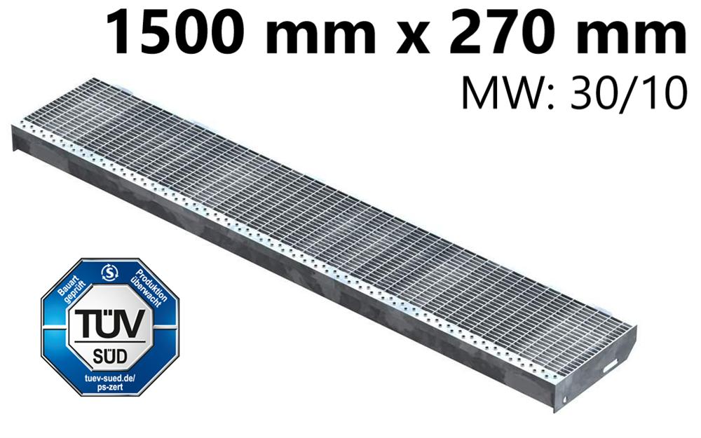 Gitterroststufe Treppenstufe   Maße: 1500x270 mm 30/10 mm   S235JR (St37-2), im Vollbad feuerverzinkt