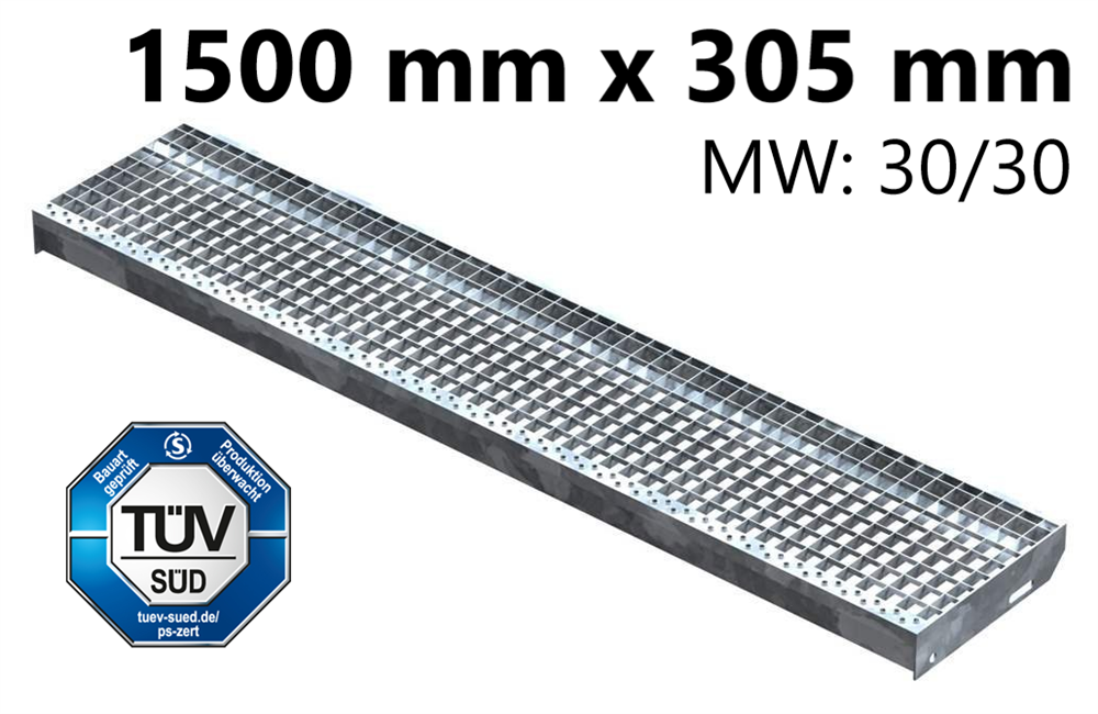 Gitterroststufe Treppenstufe   Maße: 1500x305 mm 30/30 mm   S235JR (St37-2), im Vollbad feuerverzinkt