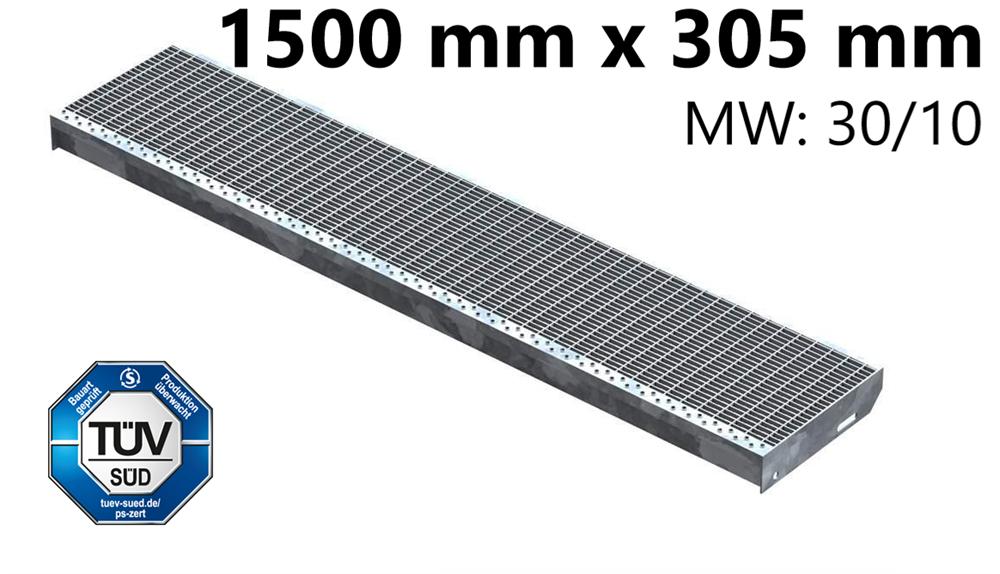 Gitterroststufe Treppenstufe   Maße: 1500x305 mm 30/10 mm   S235JR (St37-2), im Vollbad feuerverzinkt