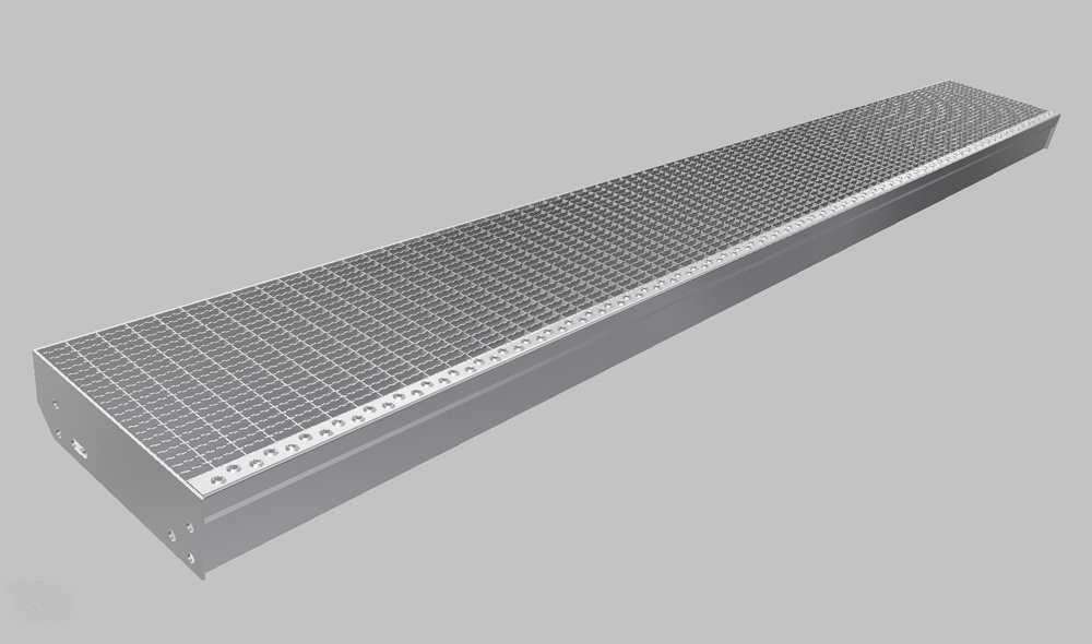 Gitterroststufe XXL | Maße: 1600x350 mm 30/10 mm | aus S235JR (St37-2), im Vollbad feuerverzinkt