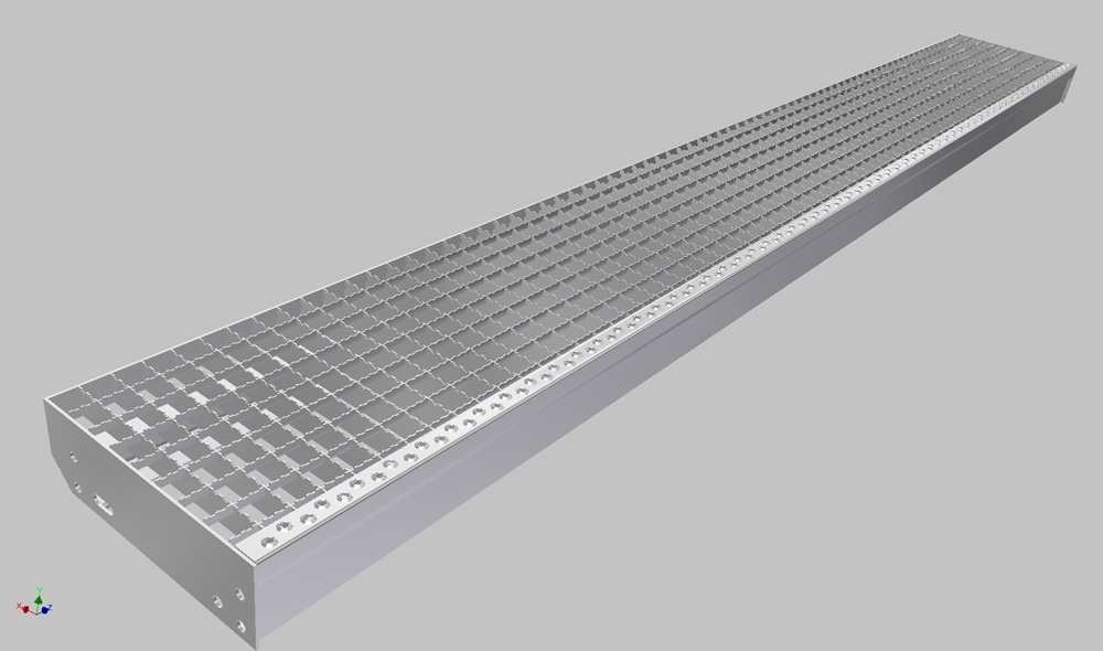 Gitterroststufe XXL | Maße: 2100x305 mm 30/30 mm | aus S235JR (St37-2), im Vollbad feuerverzinkt