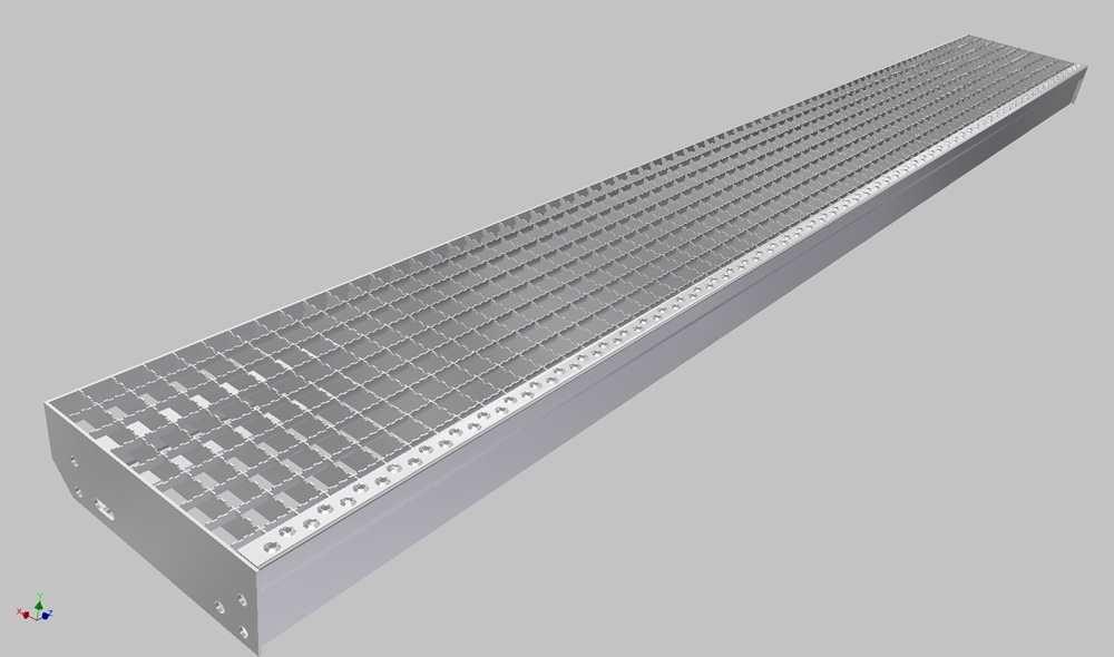 Gitterroststufe XXL | Maße: 2100x400 mm 30/30 mm | aus S235JR (St37-2), im Vollbad feuerverzinkt
