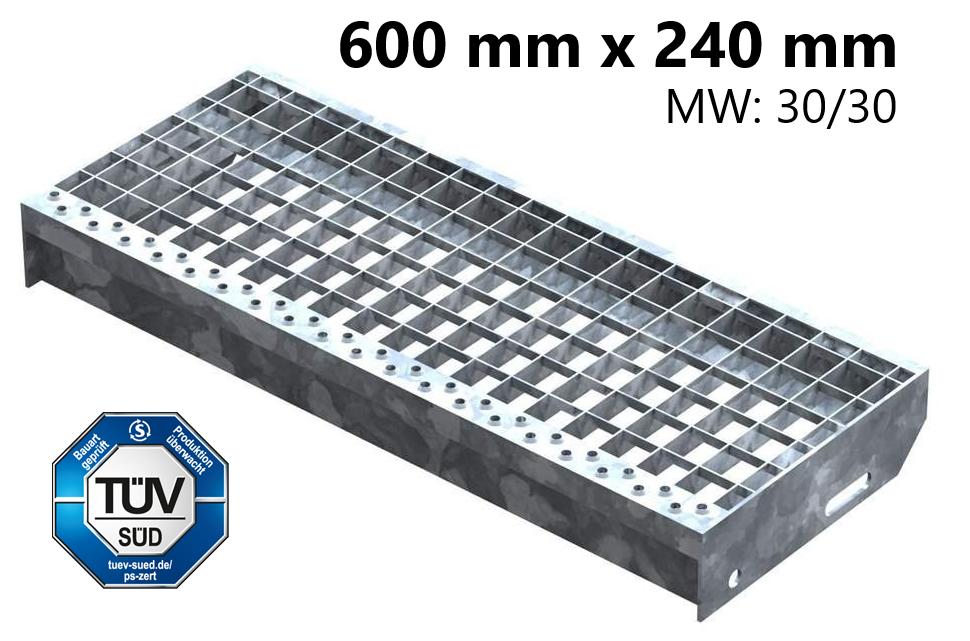 Gitterroststufe Treppenstufe   Maße: 600x240 mm 30/30 mm   S235JR (St37-2), im Vollbad feuerverzinkt