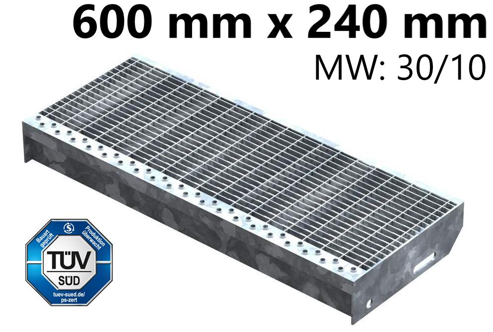 Gitterroststufe Treppenstufe   Maße: 600x240 mm 30/10 mm   S235JR (St37-2), im Vollbad feuerverzinkt