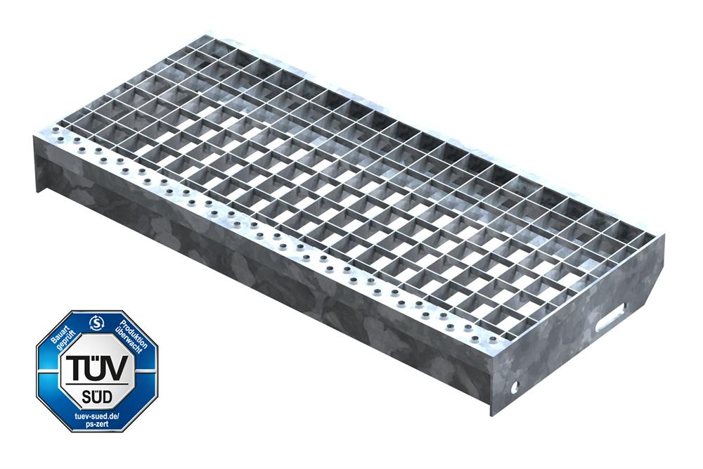 Gitterroststufe Treppenstufe   Maße: 600x270 mm 30/30 mm   S235JR (St37-2), im Vollbad feuerverzinkt