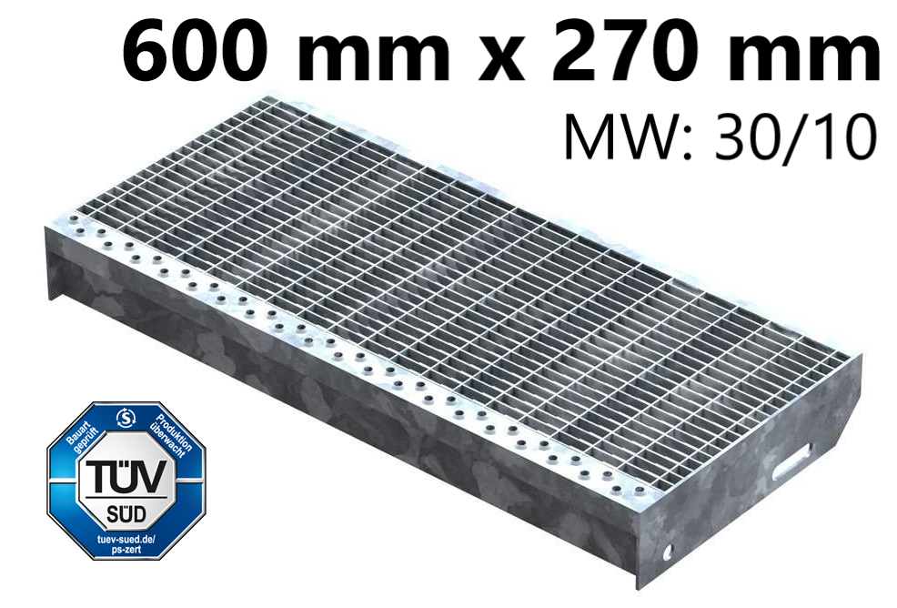 Gitterroststufe Treppenstufe   Maße: 600x270 mm 30/10 mm   S235JR (St37-2), im Vollbad feuerverzinkt