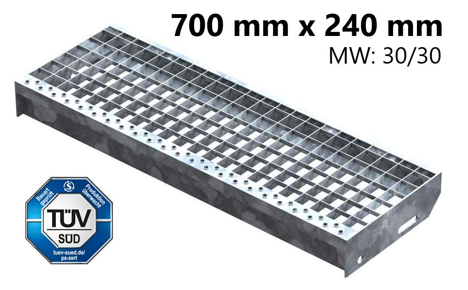 Gitterroststufe Treppenstufe   Maße: 700x240 mm 30/30 mm   S235JR (St37-2), im Vollbad feuerverzinkt