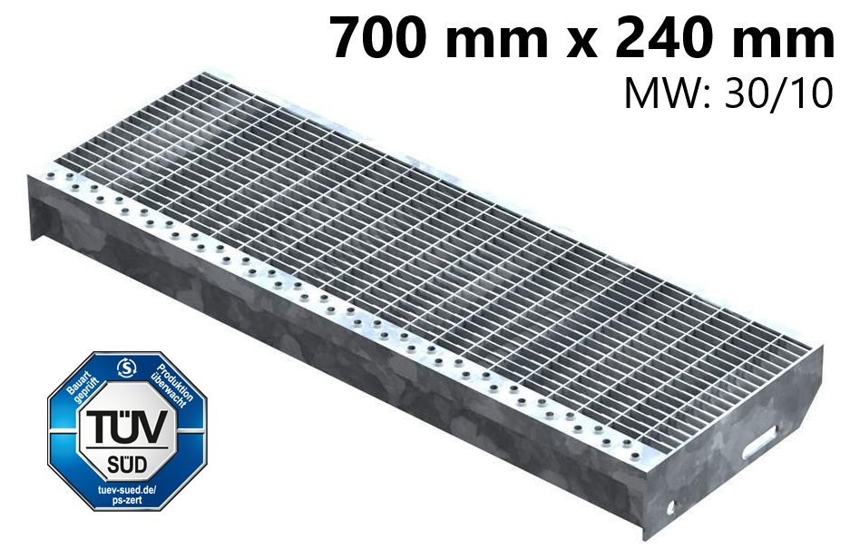 Gitterroststufe Treppenstufe   Maße: 700x240 mm 30/10 mm   S235JR (St37-2), im Vollbad feuerverzinkt
