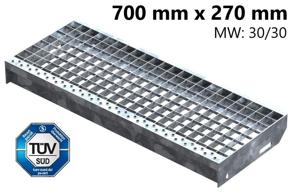 Gitterroststufe Treppenstufe   Maße: 700x270 mm 30/30 mm   S235JR (St37-2), im Vollbad feuerverzinkt