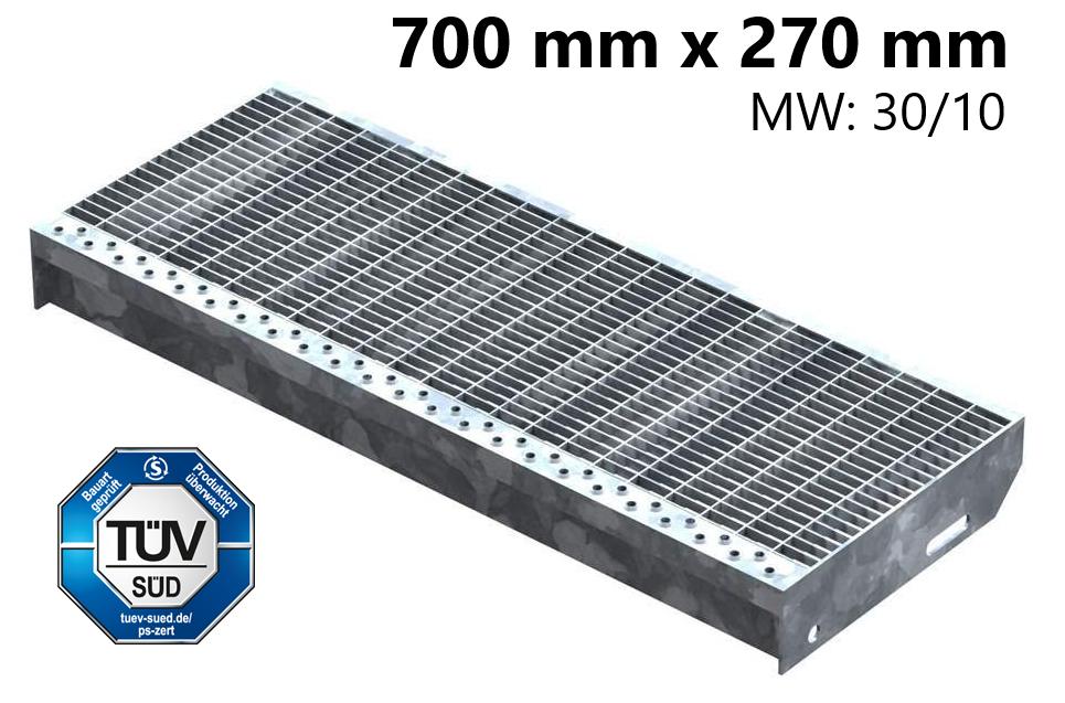 Gitterroststufe Treppenstufe   Maße: 700x270 mm 30/10 mm   S235JR (St37-2), im Vollbad feuerverzinkt