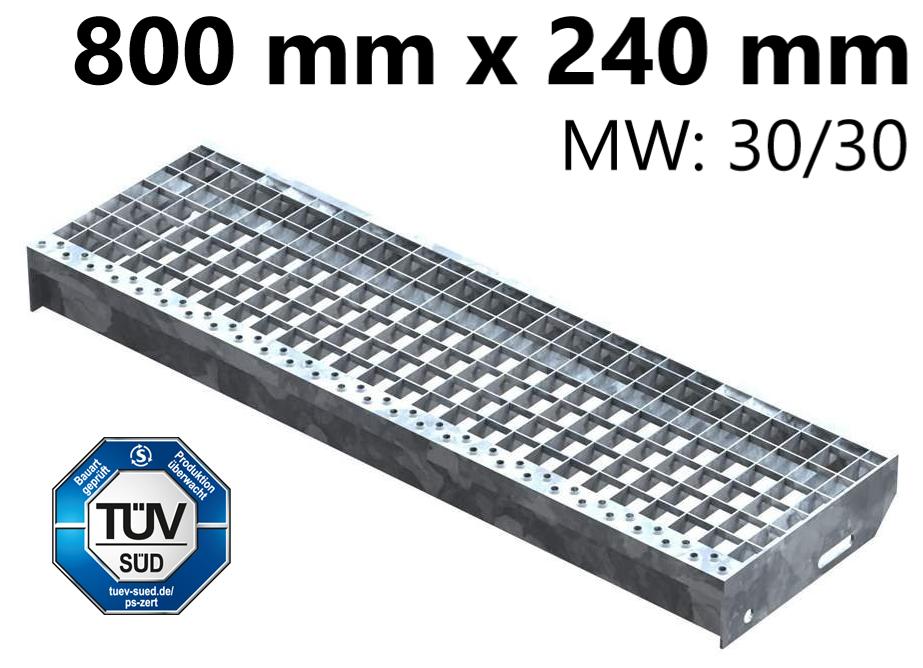 Gitterroststufe Treppenstufe   Maße: 800x240 mm 30/30 mm   S235JR (St37-2), im Vollbad feuerverzinkt