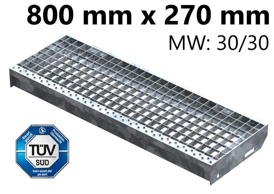 Gitterroststufe Treppenstufe   Maße: 800x270 mm 30/30 mm   S235JR (St37-2), im Vollbad feuerverzinkt