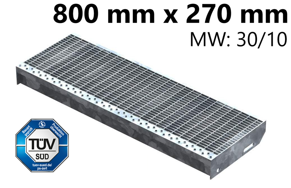 Gitterroststufe Treppenstufe   Maße: 800x270 mm 30/10 mm   S235JR (St37-2), im Vollbad feuerverzinkt
