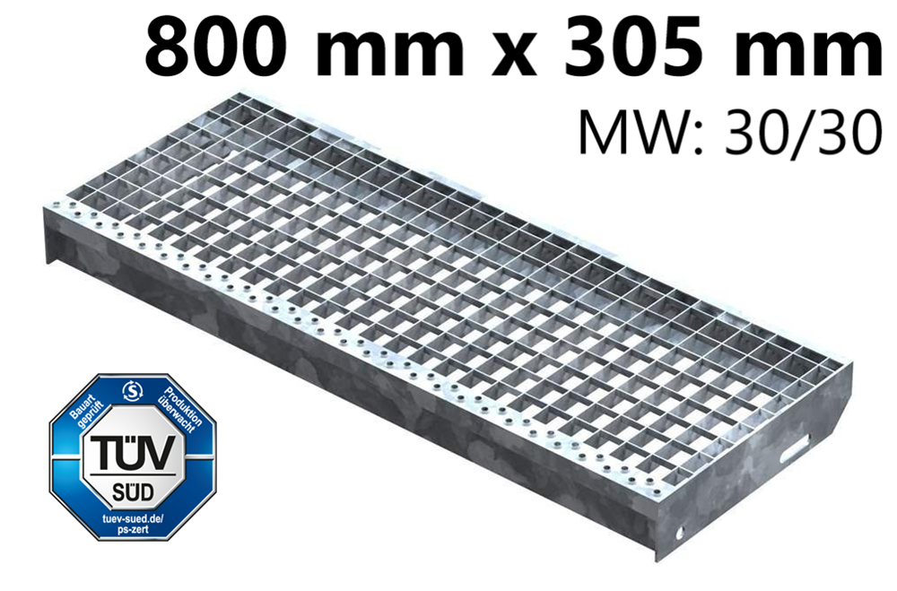 Gitterroststufe Treppenstufe   Maße: 800x305 mm 30/30 mm   S235JR (St37-2), im Vollbad feuerverzinkt