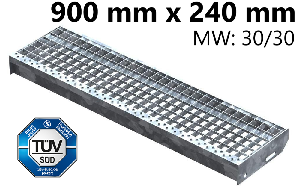 Gitterroststufe Treppenstufe   Maße: 900x240 mm 30/30 mm   S235JR (St37-2), im Vollbad feuerverzinkt