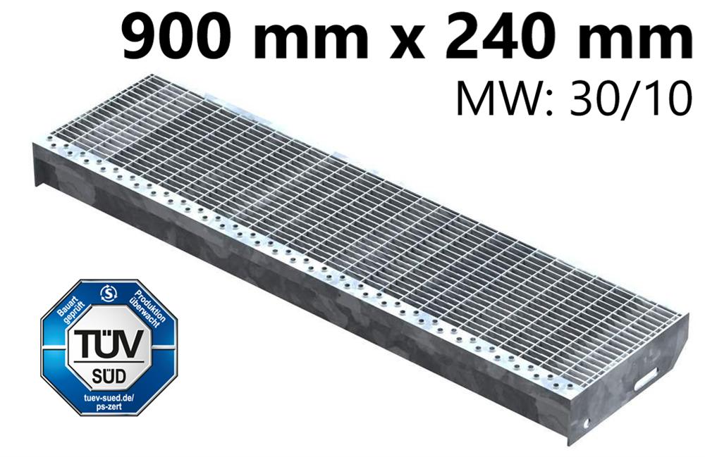 Gitterroststufe Treppenstufe   Maße: 900x240 mm 30/10 mm   S235JR (St37-2), im Vollbad feuerverzinkt