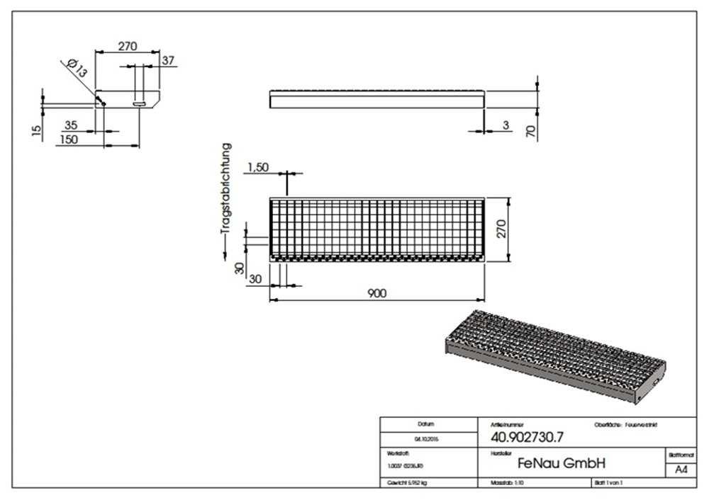 Gitterroststufe Treppenstufe | Maße: 900x270 mm 30/30 mm | S235JR (St37-2), im Vollbad feuerverzinkt