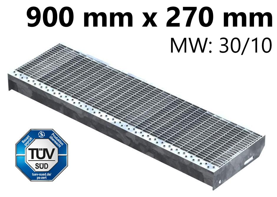 Gitterroststufe Treppenstufe   Maße: 900x270 mm 30/10 mm   S235JR (St37-2), im Vollbad feuerverzinkt