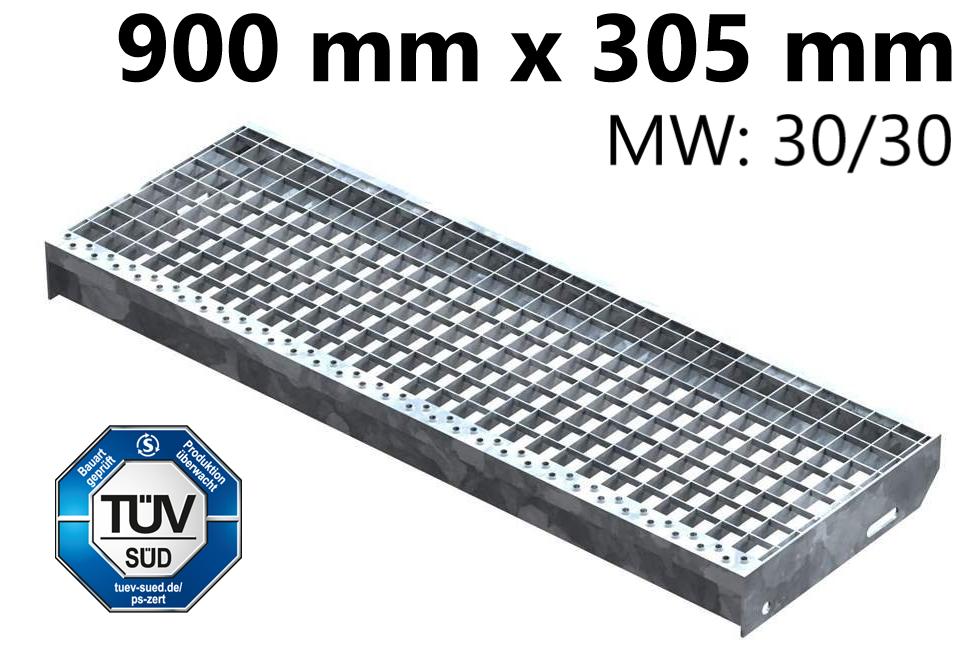 Gitterroststufe Treppenstufe   Maße: 900x305 mm 30/30 mm   S235JR (St37-2), im Vollbad feuerverzinkt