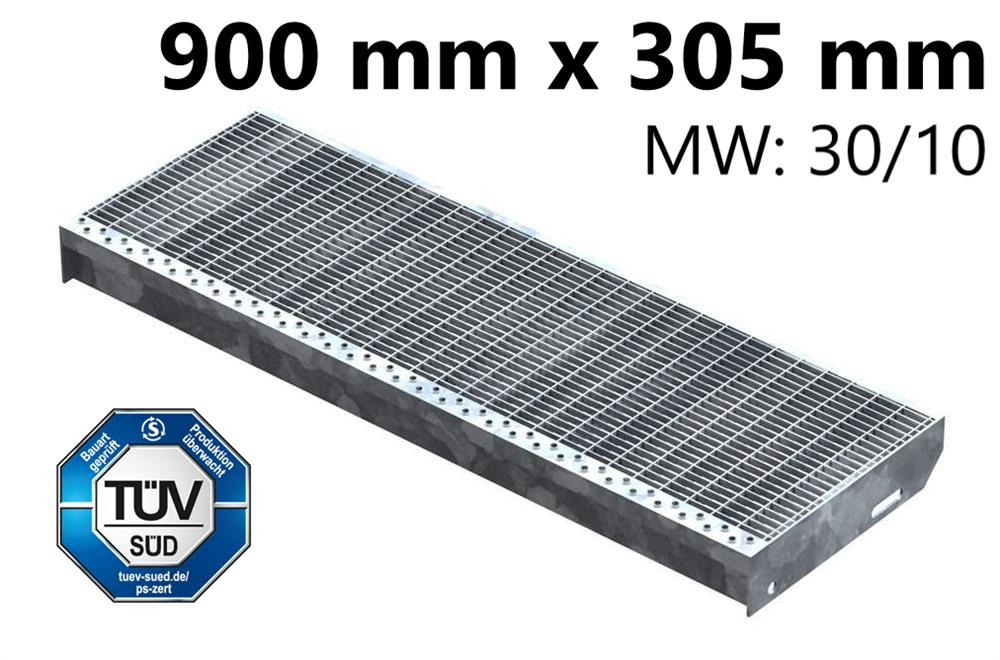 Gitterroststufe Treppenstufe   Maße: 900x305 mm 30/10 mm   S235JR (St37-2), im Vollbad feuerverzinkt