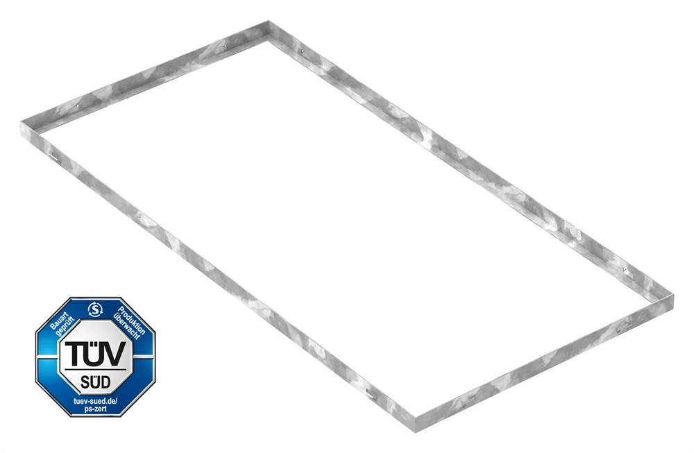 Zarge   Maße: 500x1000x28 mm   für Rosthöhe 25 mm   aus S235JR (St37-2), bandverzinkt