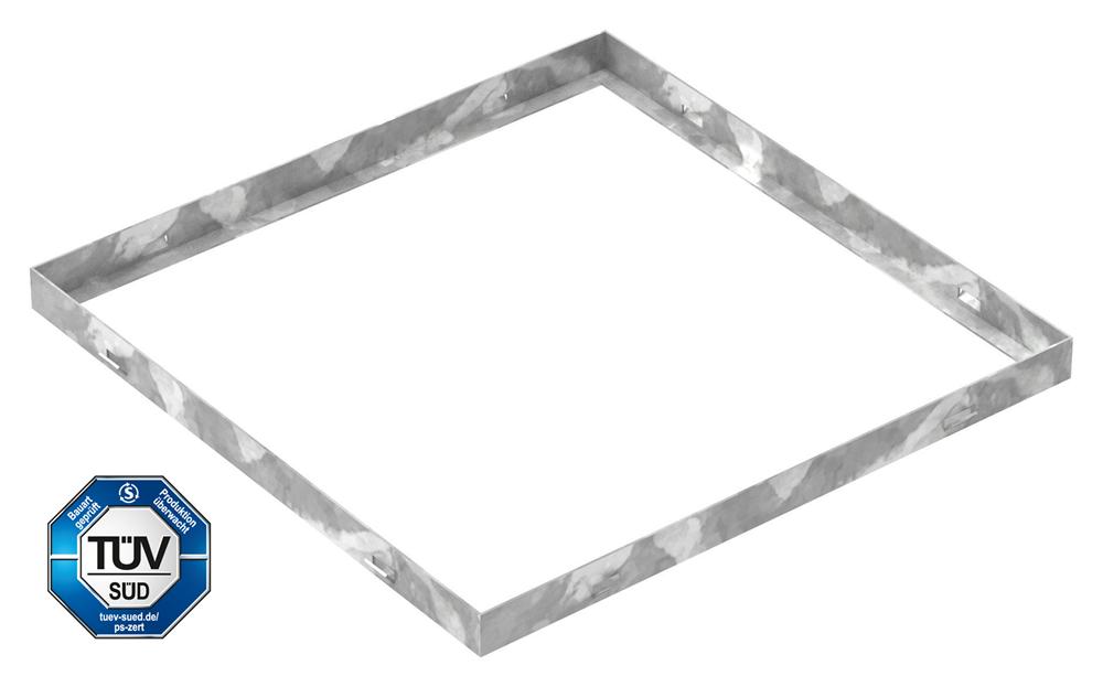 Zarge | Maße: 500x500x33 mm | für Rosthöhe 30 mm | aus S235JR (St37-2), bandverzinkt