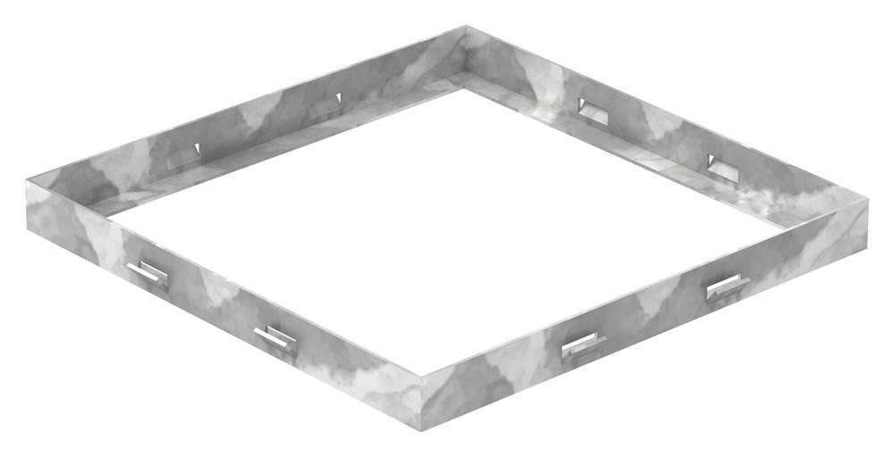 Zarge   Maße: 300x300x28 mm   für Rosthöhe 25 mm   aus S235JR (St37-2), bandverzinkt