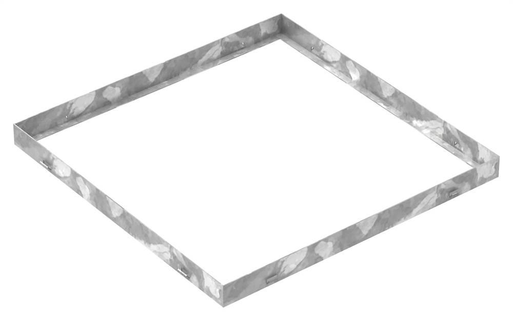 Zarge | Maße: 600x600x43 mm | für Rosthöhe 40 mm | aus S235JR (St37-2), bandverzinkt